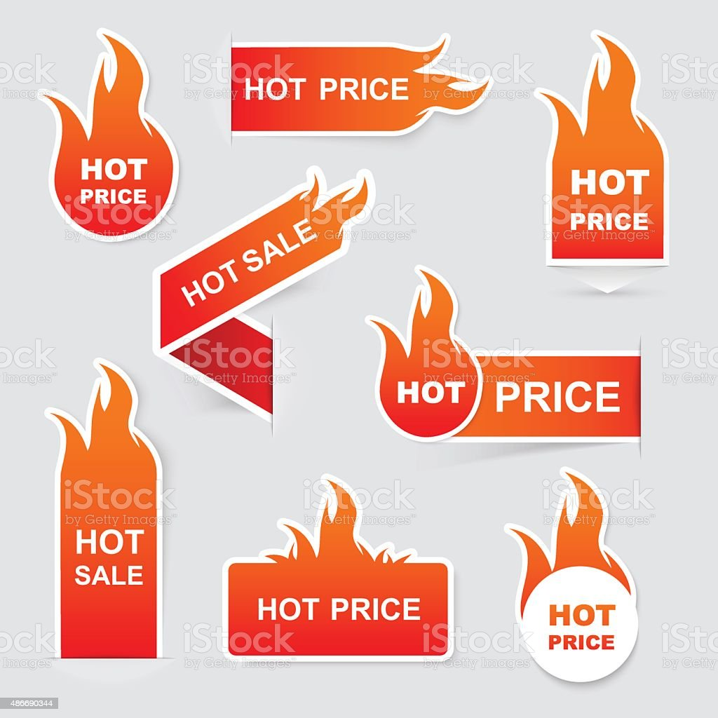 Collection of hot sale and hot price promo seals/stickers.Isolat vector art illustration
