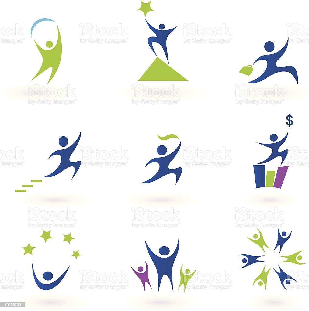 Collection of human business, success and money icons - blue vector art illustration
