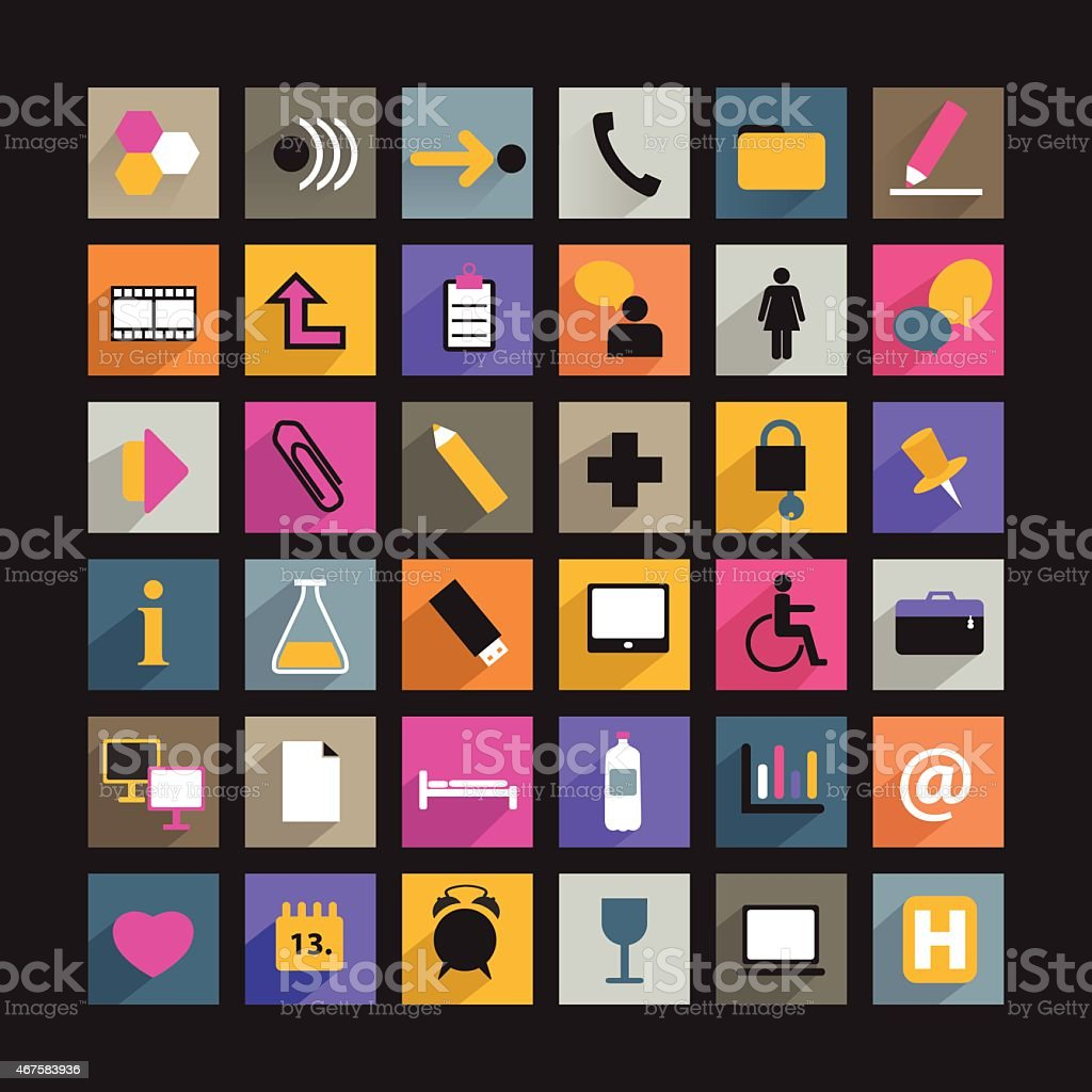 collection of human communication flat shadows icon. vector art illustration
