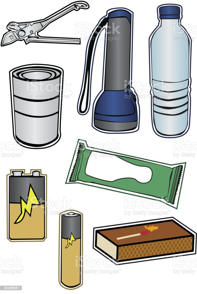 Collection of Hurricane Preparation Items vector art illustration
