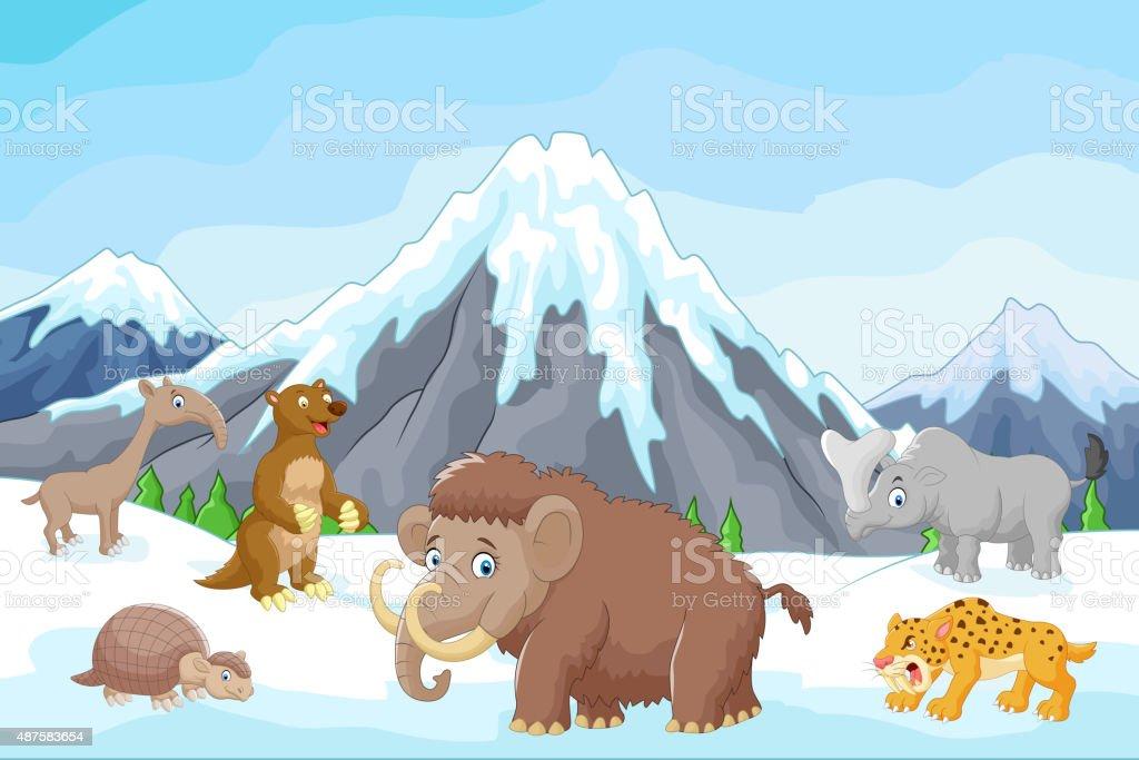 Animais polares no gelo
