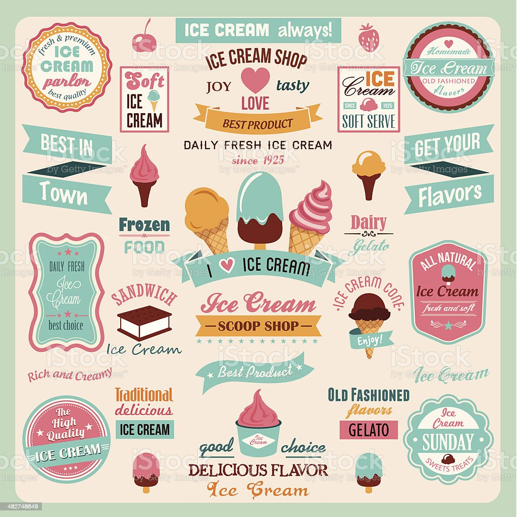 Collection of Ice Cream Design Elements vector art illustration