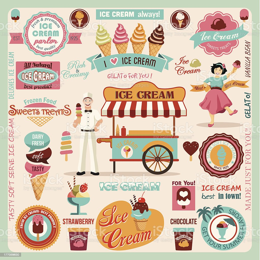 Collection of Ice Cream Design Elements.Vector Illustration vector art illustration