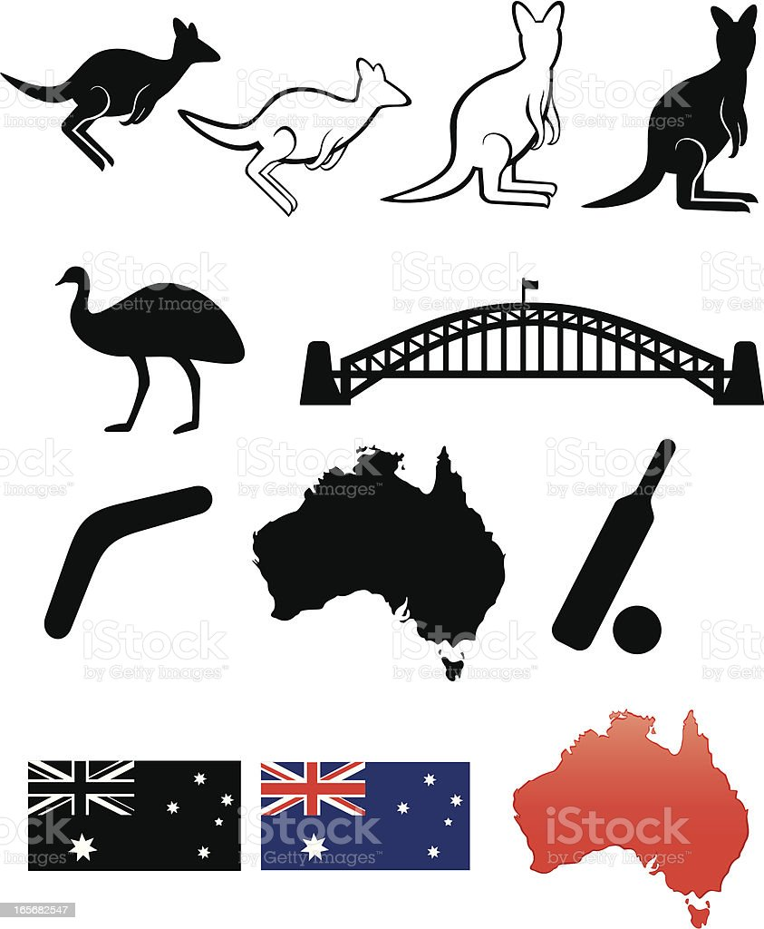 Collection of icons representing Australia vector art illustration