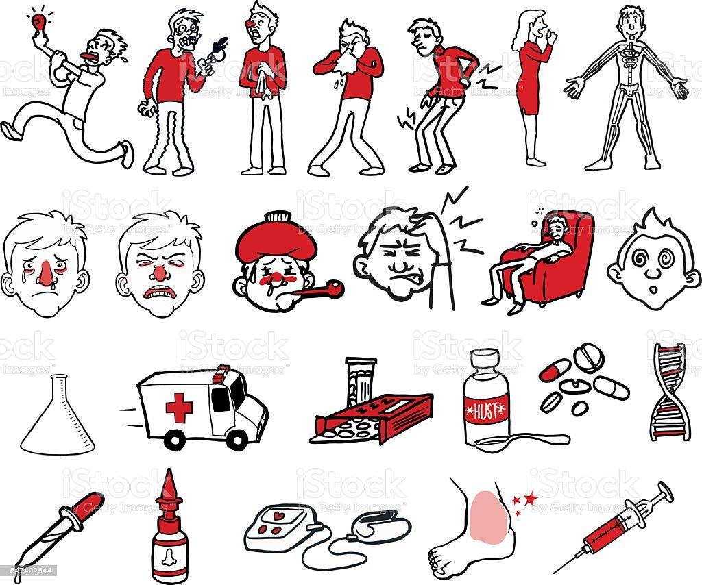 Collection of illnesses and symptoms vector art illustration