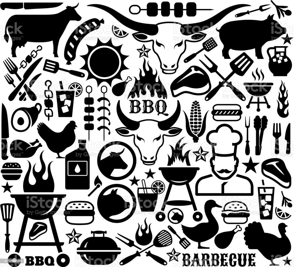 Collection of illustrations and icons with barbecue symbols. vector art illustration