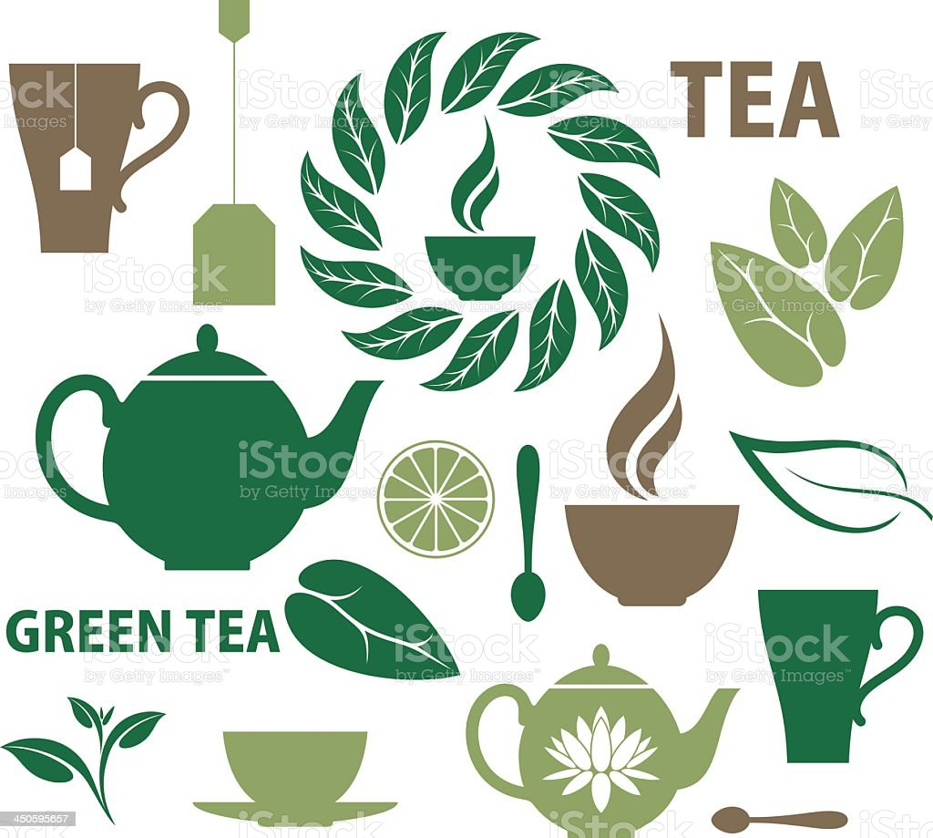 Collection of images representing tea vector art illustration