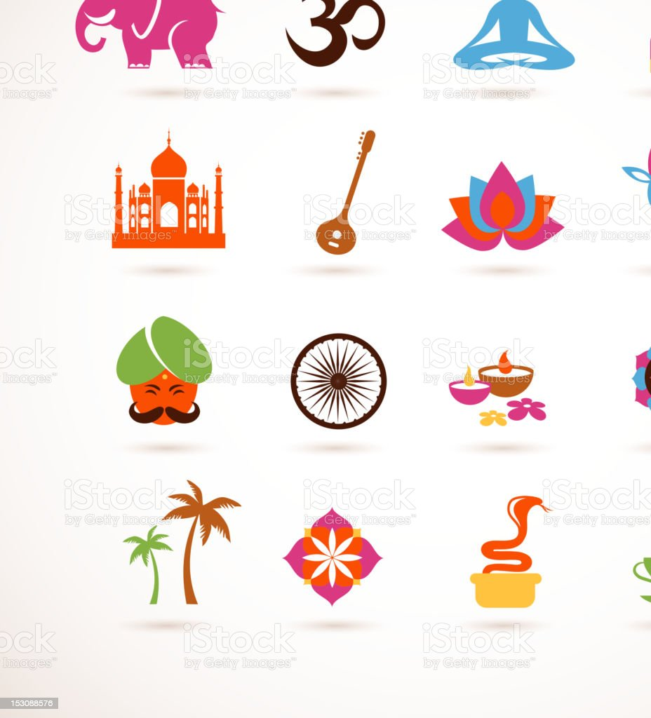 collection of  India vector icons vector art illustration