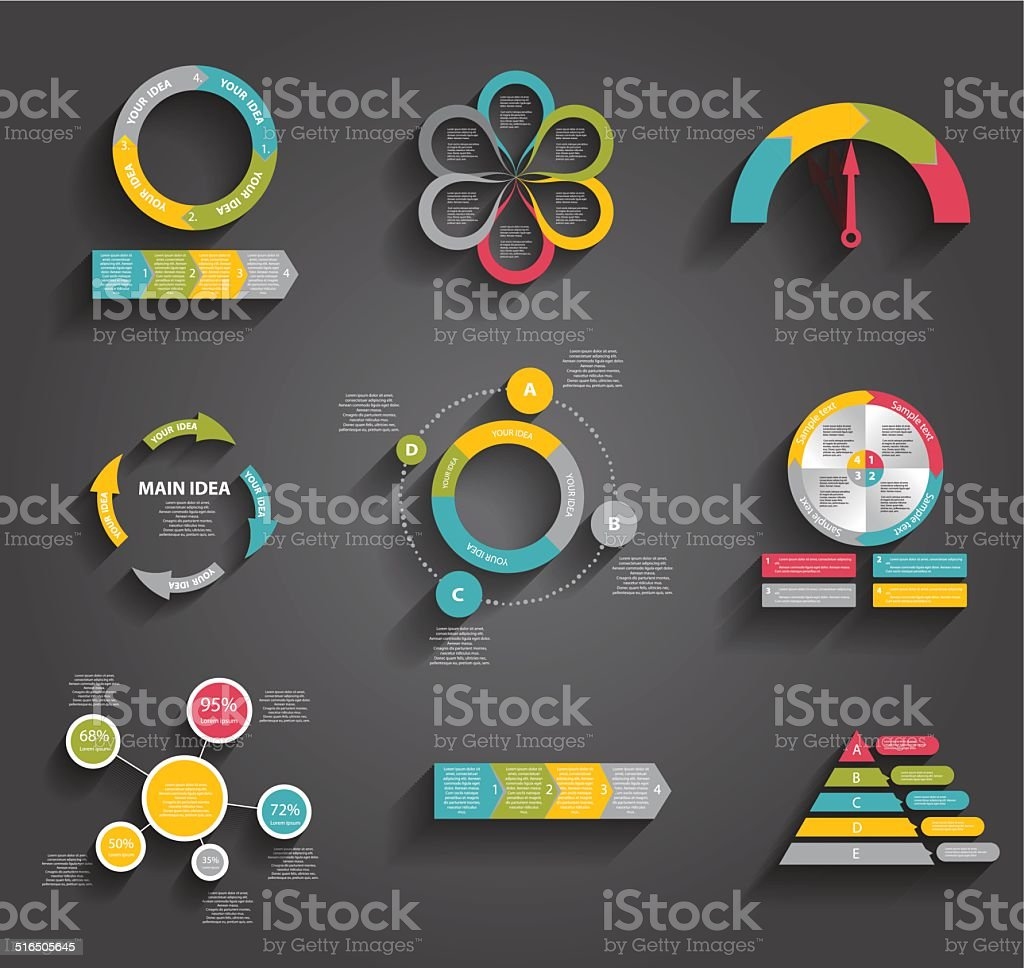Collection of Infographic Templates for Business Vector Illustration vector art illustration