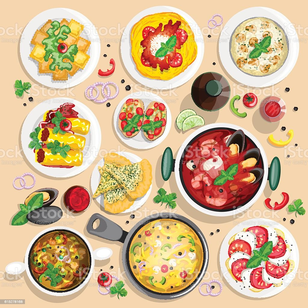 Collection of italian food top view iluustrations vector art illustration