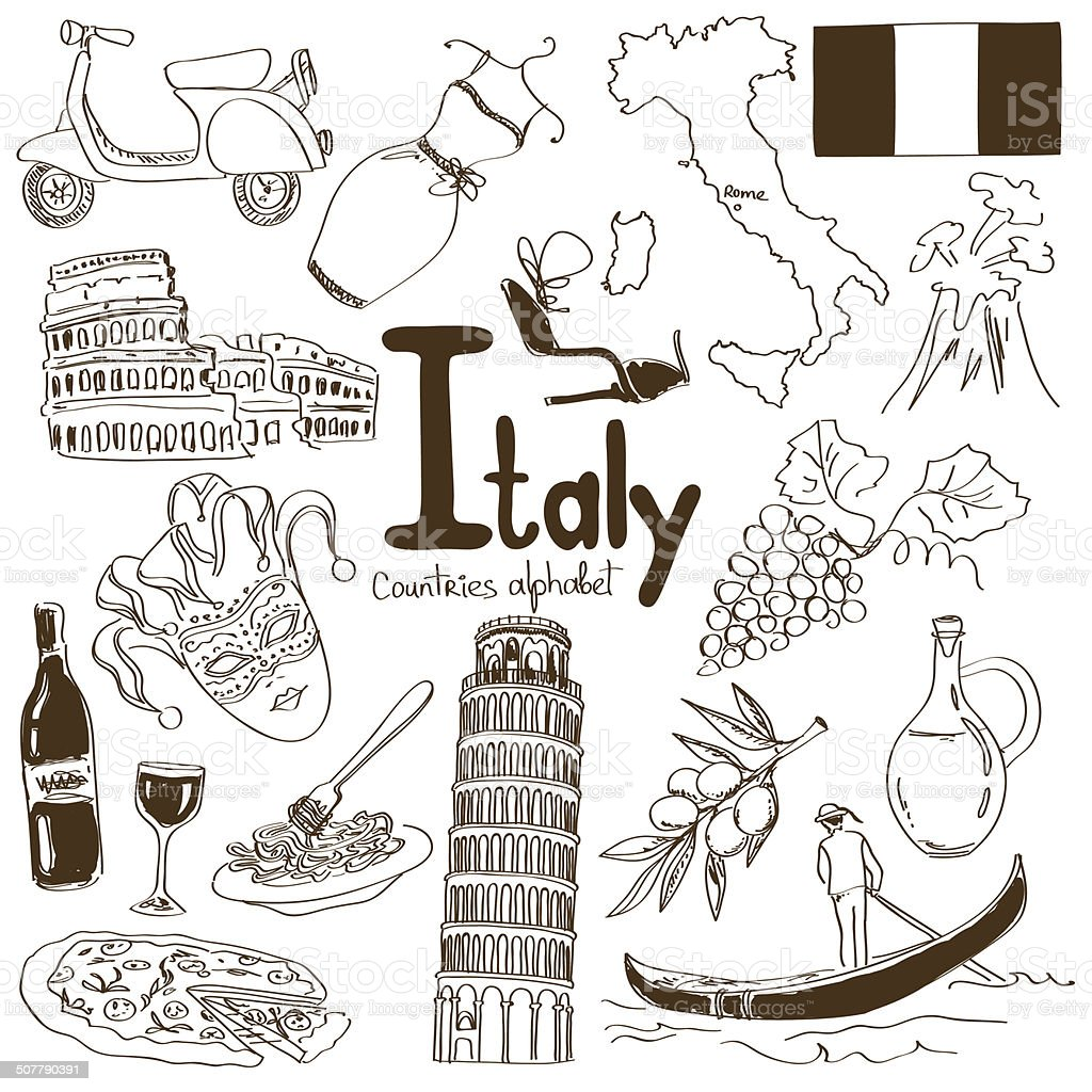 Collection of Italy icons vector art illustration