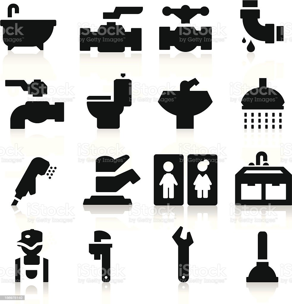 Collection of items for plumbing vector art illustration