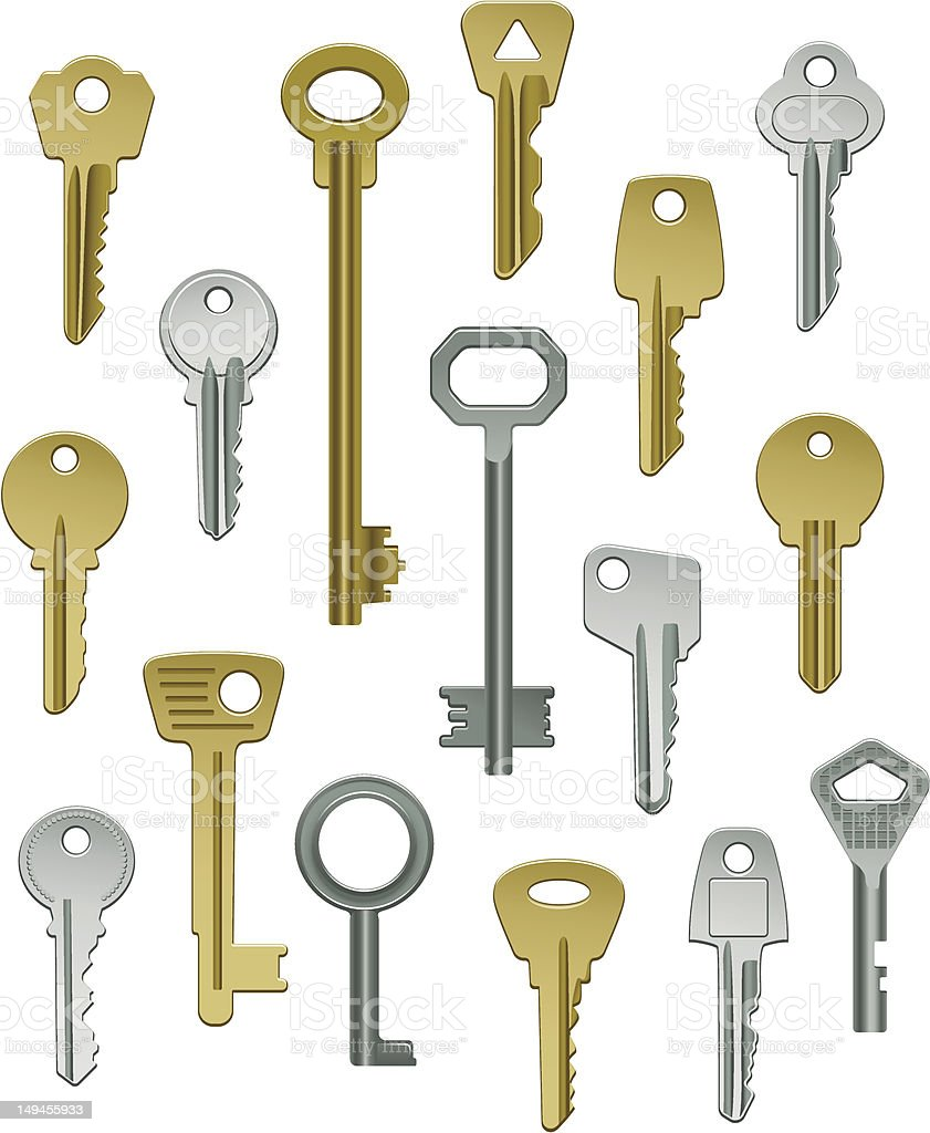 Collection of Keys - Set One royalty-free stock vector art
