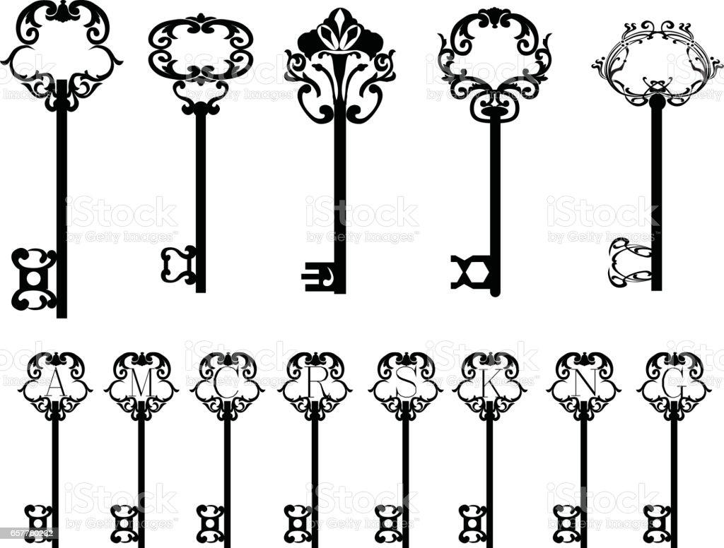 Collection of keys vector art illustration