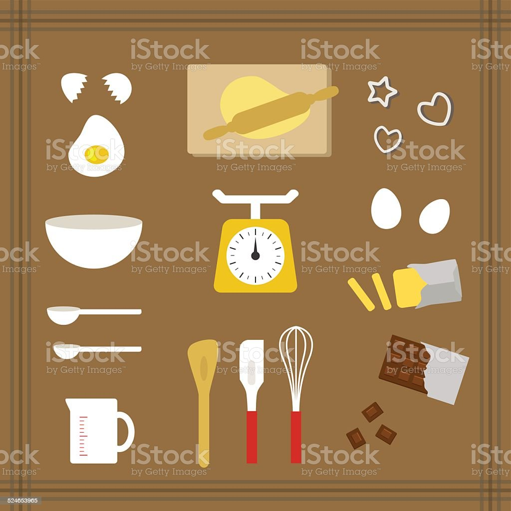 Collection of kitchen tools for sweets vector art illustration