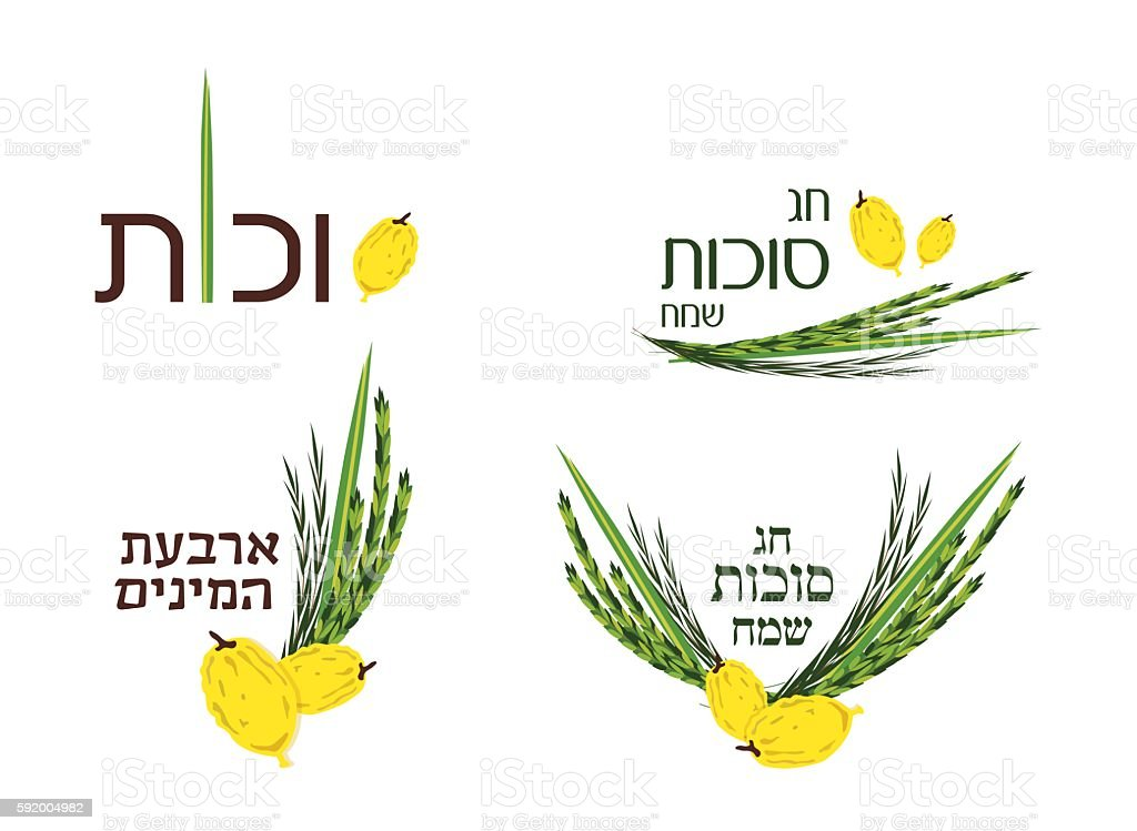 collection of labels and elements for Sukkot, Jewish Holiday. vector art illustration