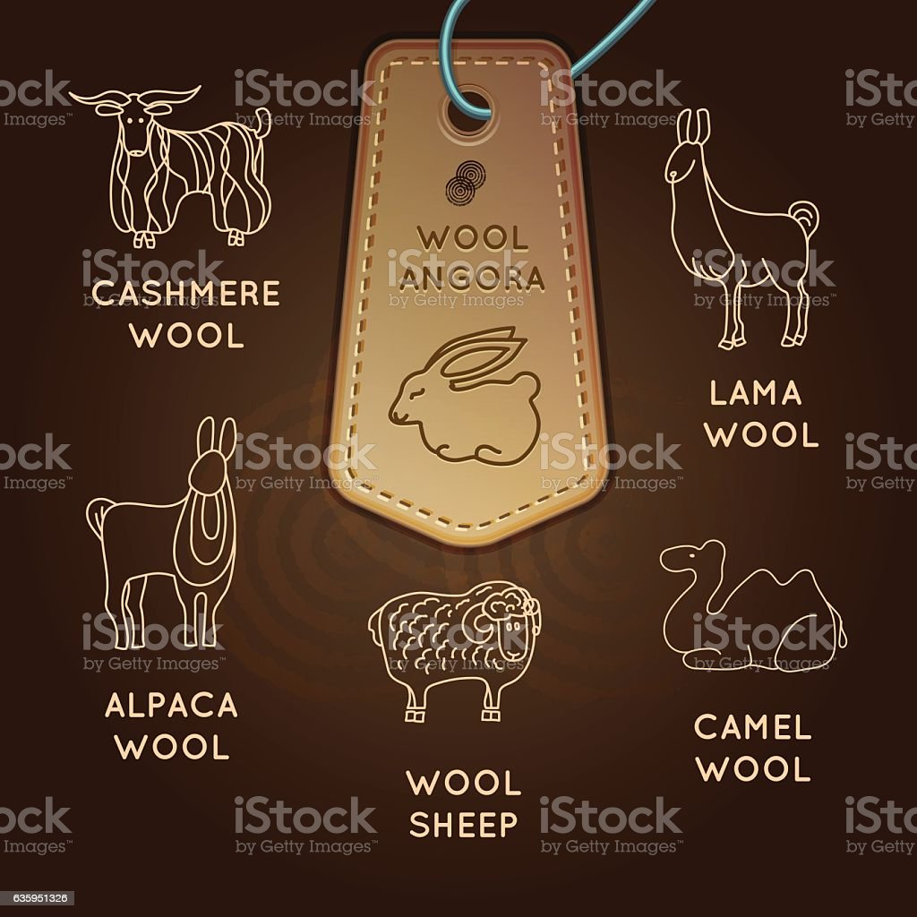 Collection of labels Wool vector art illustration