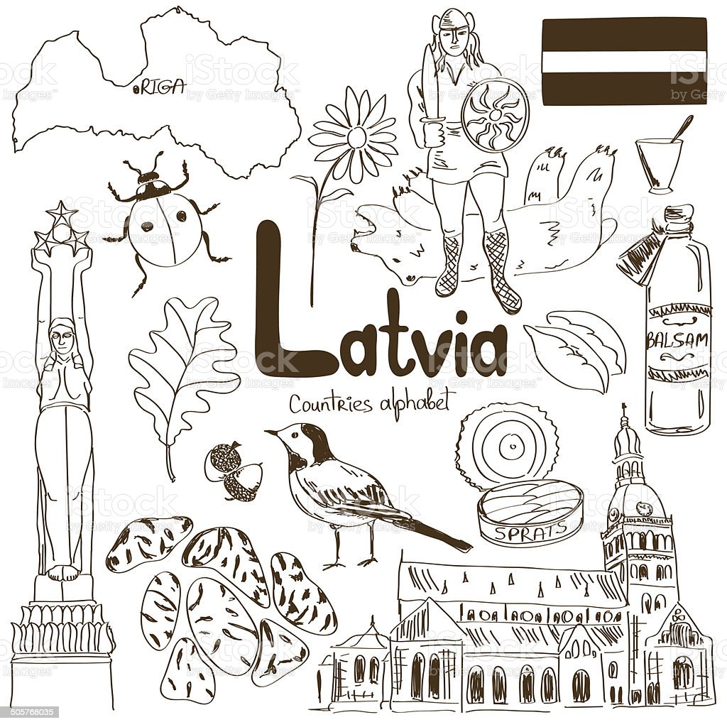 Collection of Latvia icons vector art illustration