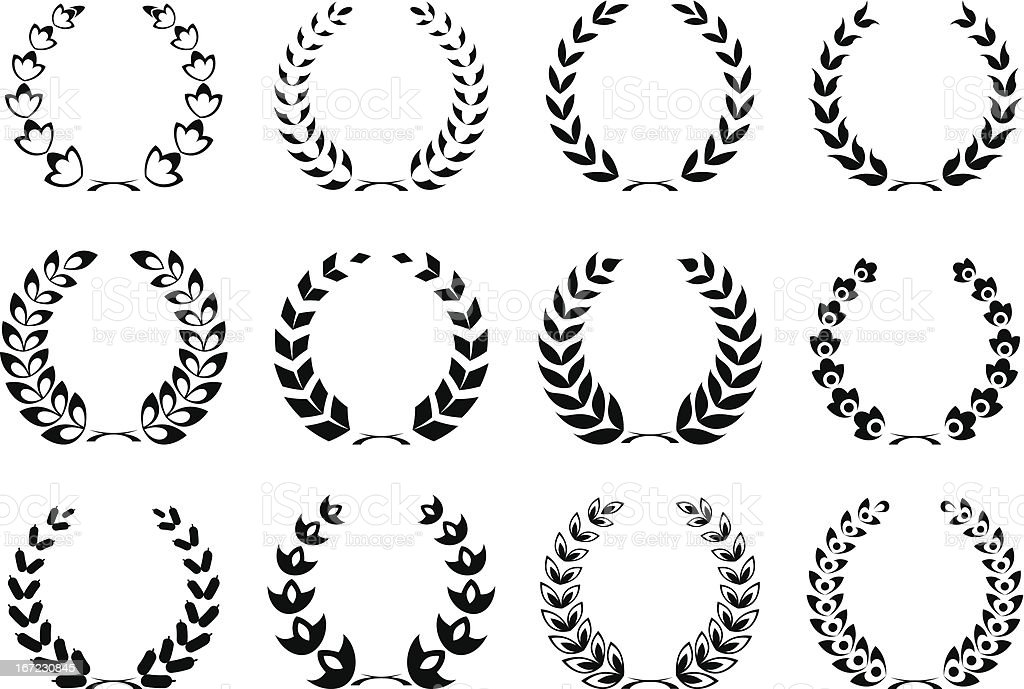 collection of Laurel wreaths royalty-free stock vector art