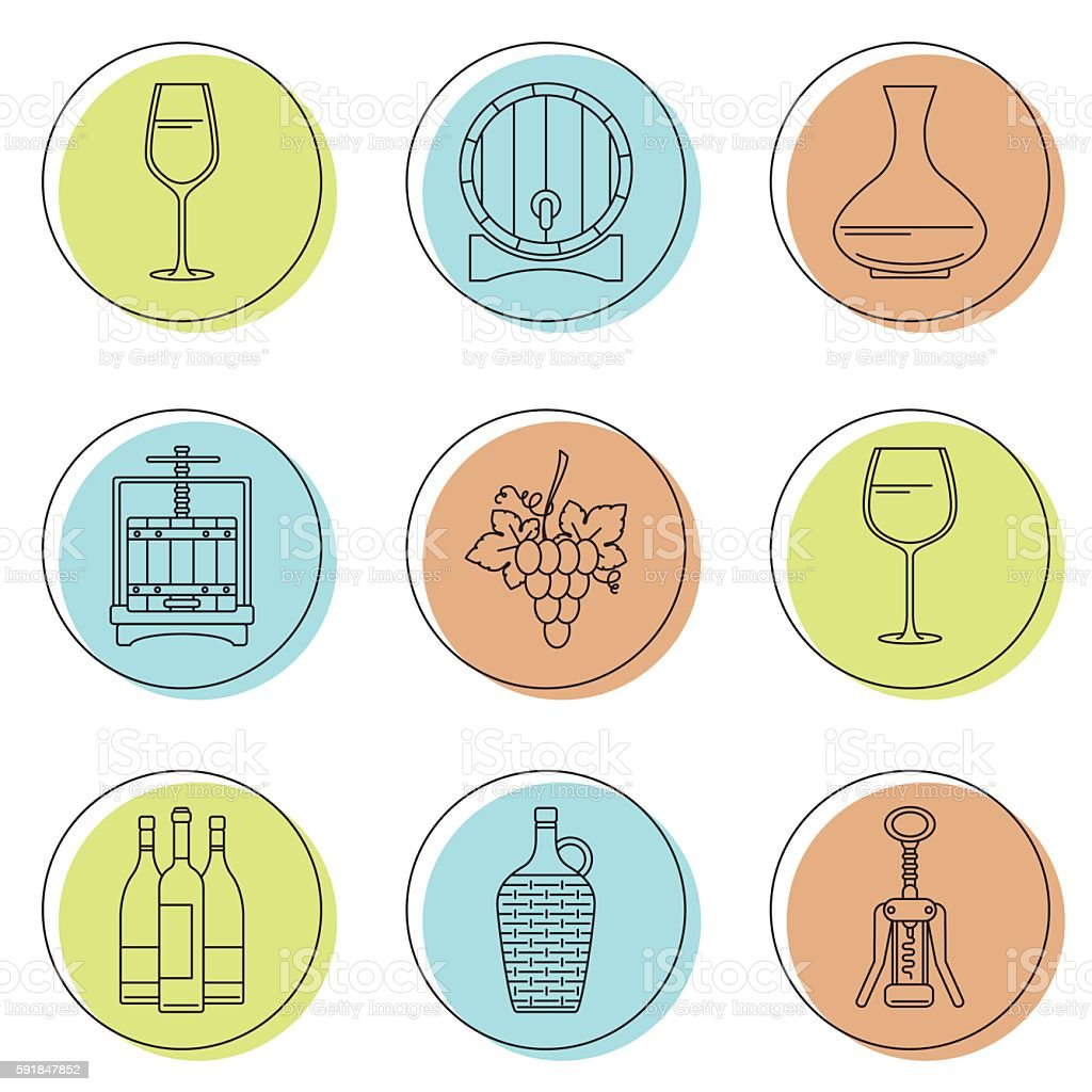 Collection of line style winemaking icons on colorful circles vector art illustration