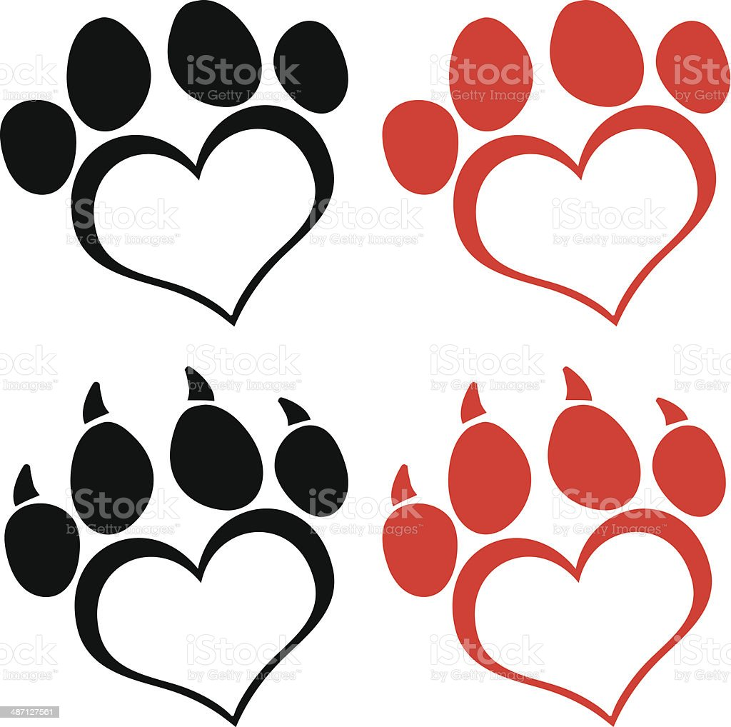 Collection of Love Paw Print vector art illustration