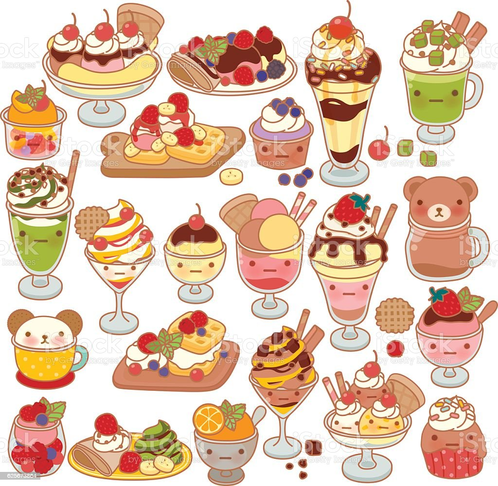 Collection of lovel sweet dessert doodle icon, cute ice cream vector art illustration