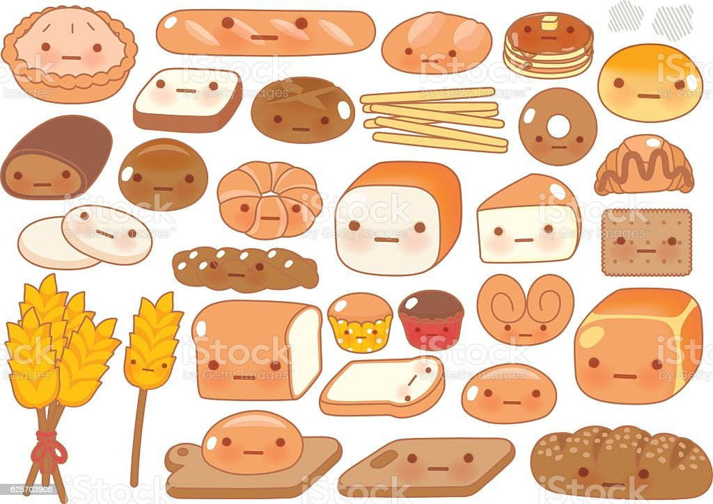 Collection of lovely baby bakery food doodle icon vector art illustration