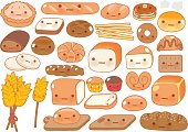 Collection of lovely baby bakery food doodle icon