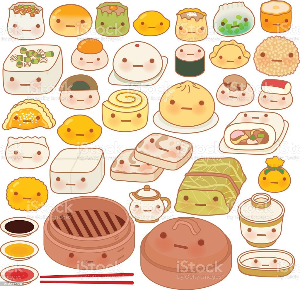 Collection of lovely baby chinese oriental food doodle icon, cut vector art illustration