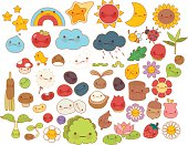 Collection of lovely baby forest nature doodle character icon