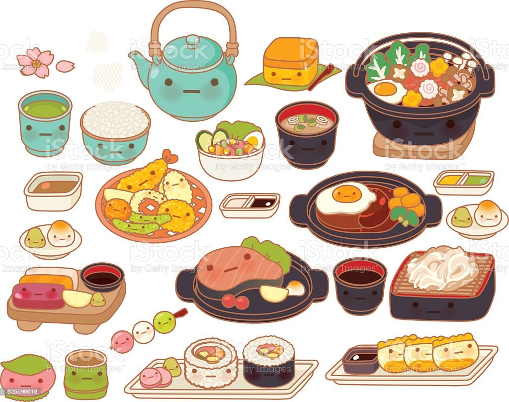 Collection of lovely baby japanese food doodle icon, cute tempur vector art illustration