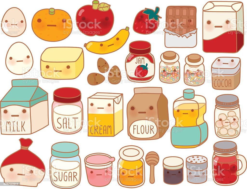 Collection of lovely cake ingredient icon , cute egg , adorable vector art illustration