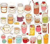Collection of lovely hot and cold drink icon, cute tea