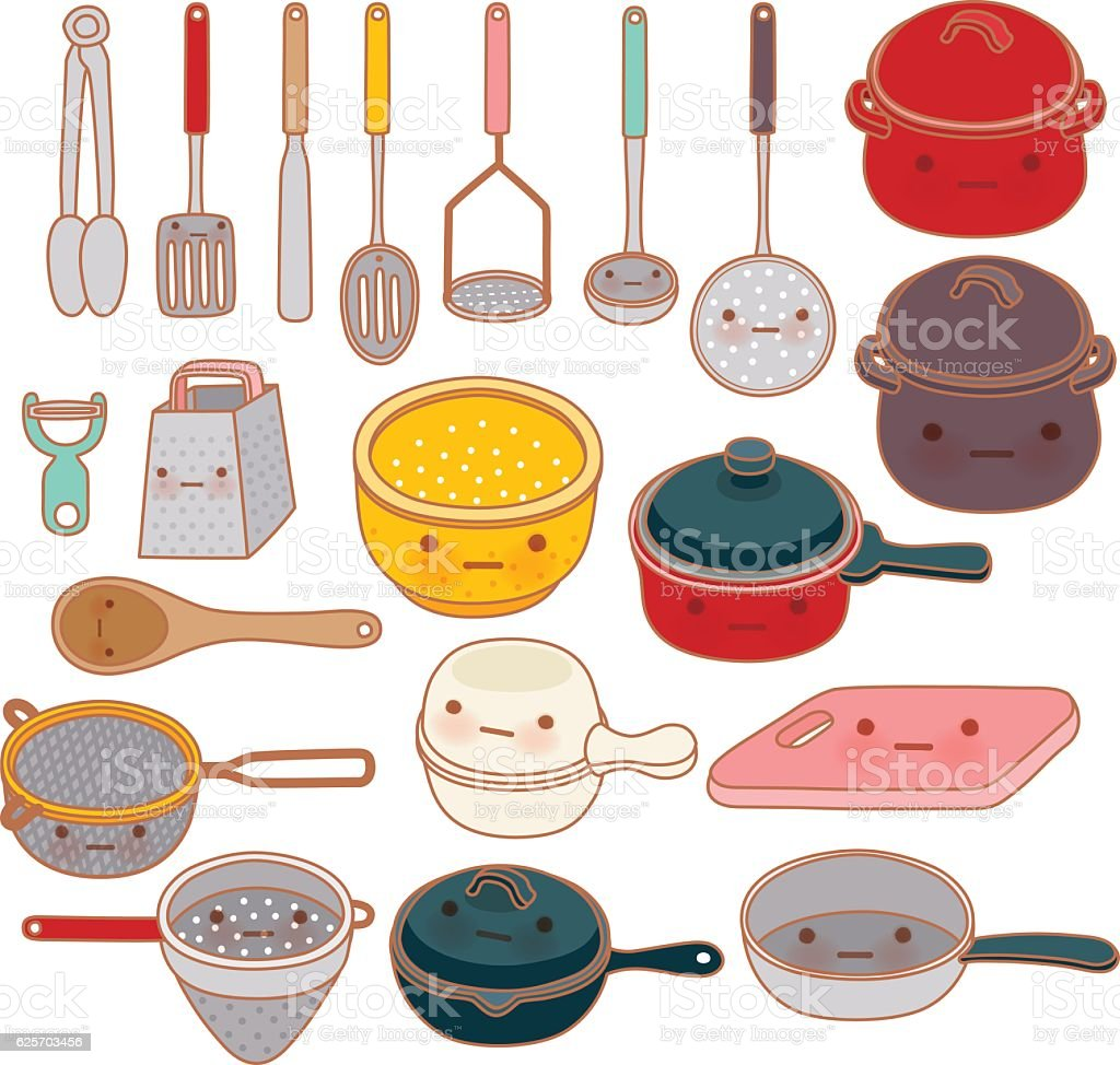 Collection of lovely kitchenware , cute grater , adorable pan , vector art illustration