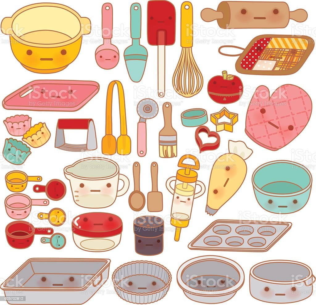 Collection of lovely pastry tool and equipment , cute rolling pi vector art illustration