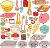 Collection of lovely pastry tool and equipment , cute rolling pi