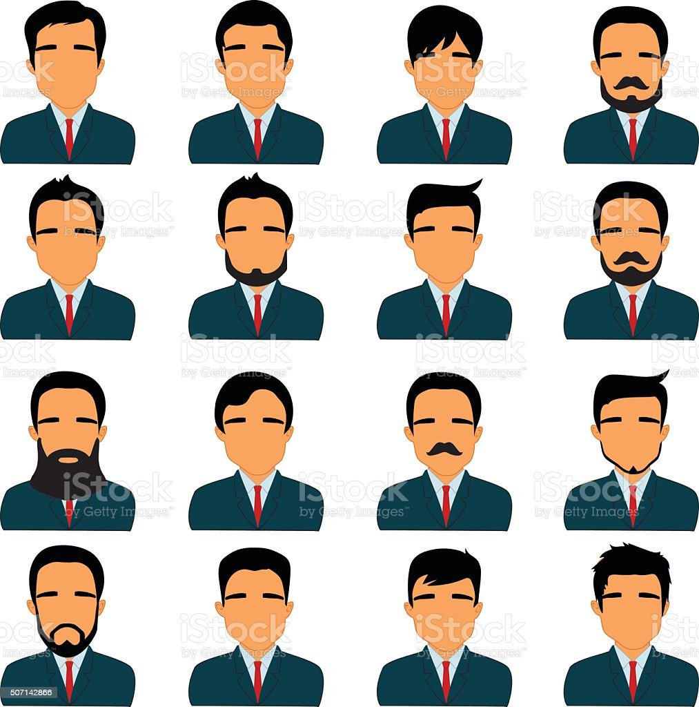 Collection of man avatars with various hairstyles vector art illustration