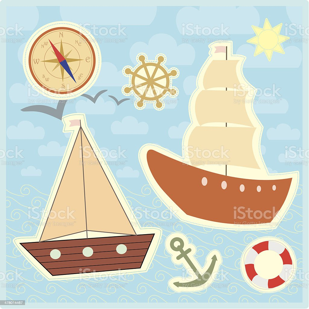 collection of marine stickers for kids royalty-free stock vector art