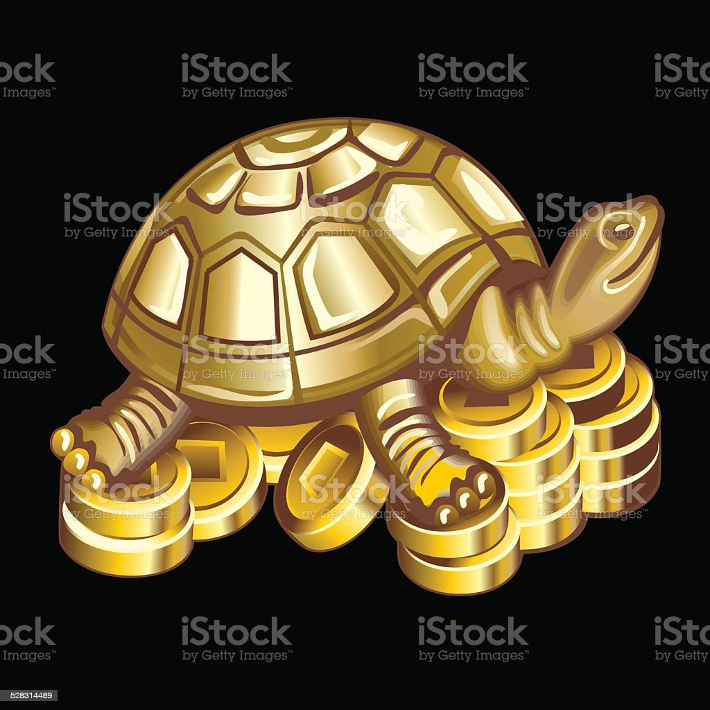 Collection of mascots: bronze turtle on coins vector art illustration