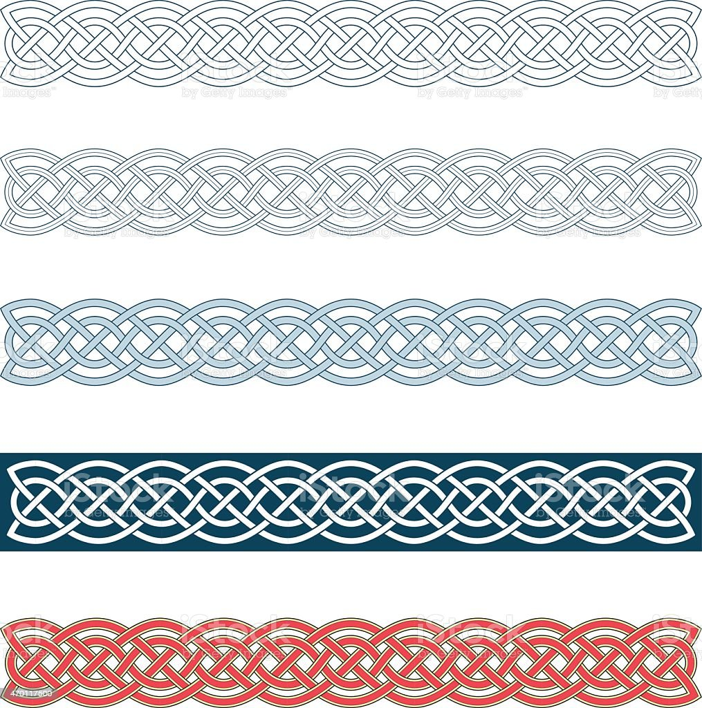 Collection of medieval Celtic knot borders vector art illustration