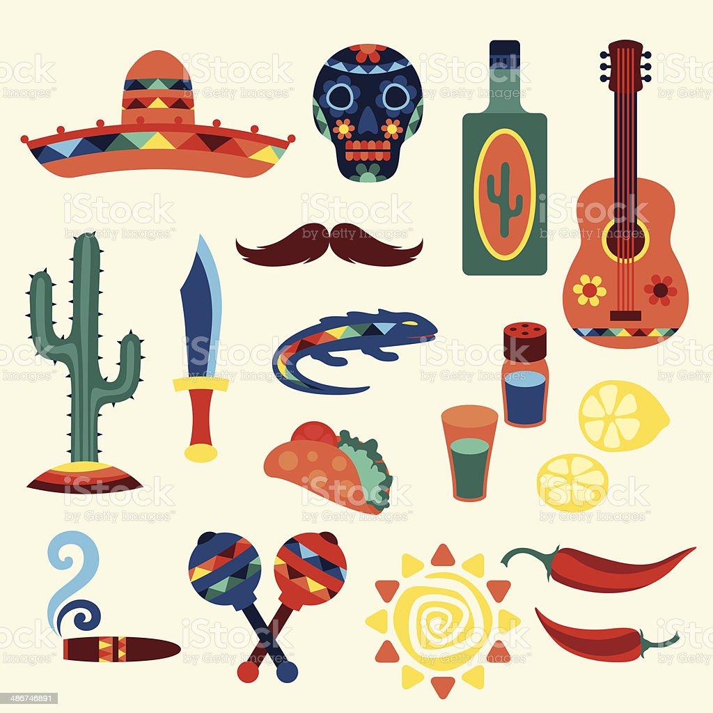 Collection of mexican icons in native style. vector art illustration