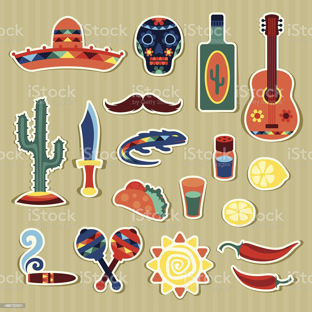 Collection of mexican stickers in native style. royalty-free stock vector art
