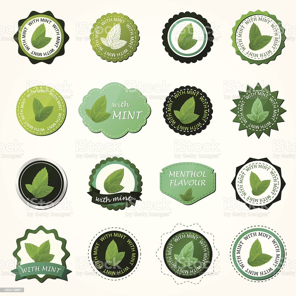 Collection of mint labels vector art illustration