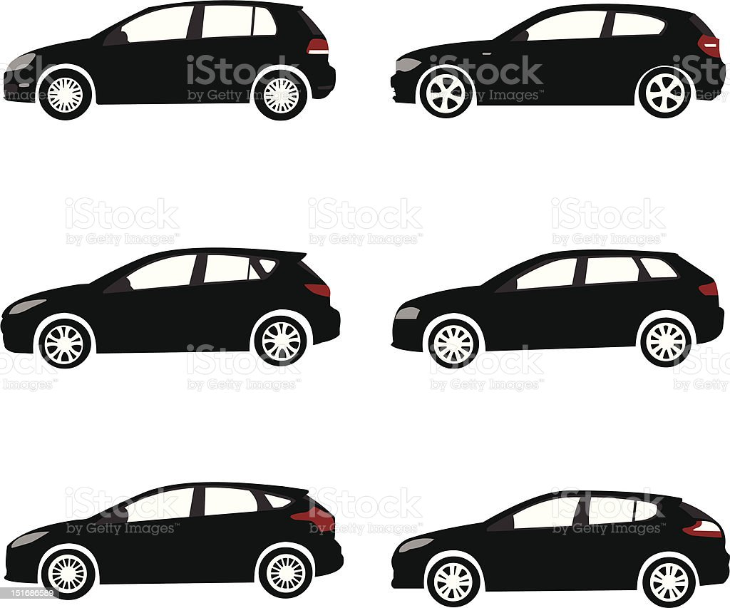 Collection of modern compact cars detailed silhouettes vector art illustration