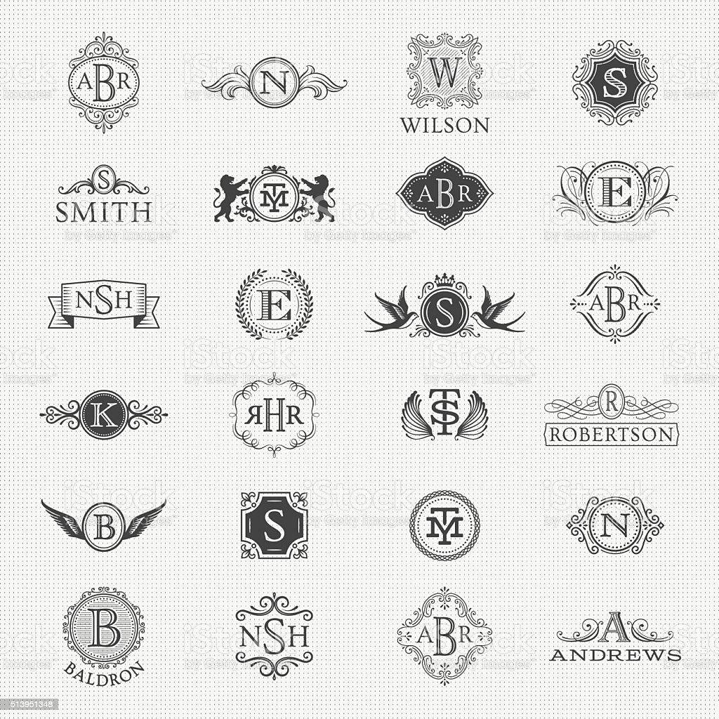 Collection of Monogram Designs vector art illustration