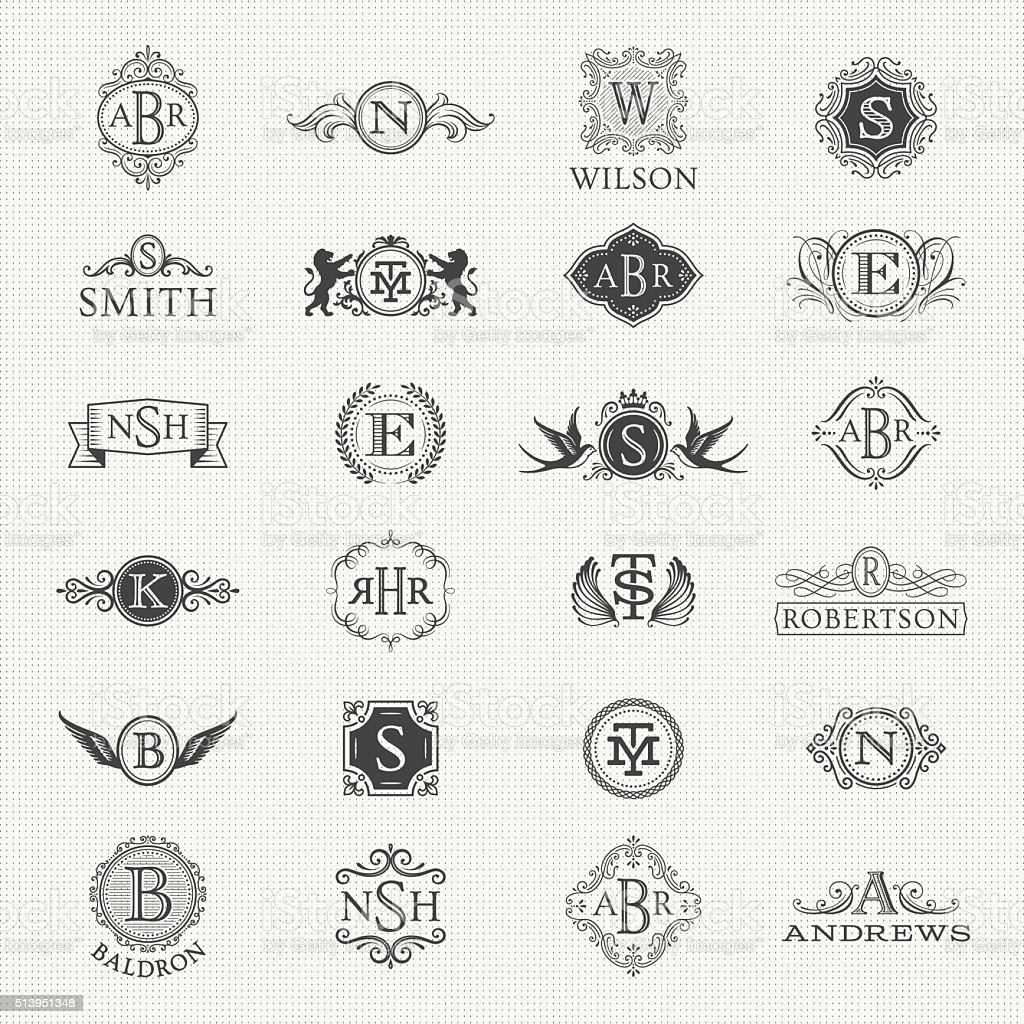 Collection of Monogram Designs vector art illustration