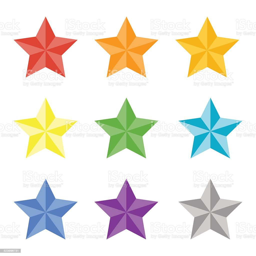 Collection of multicolored stas vector art illustration