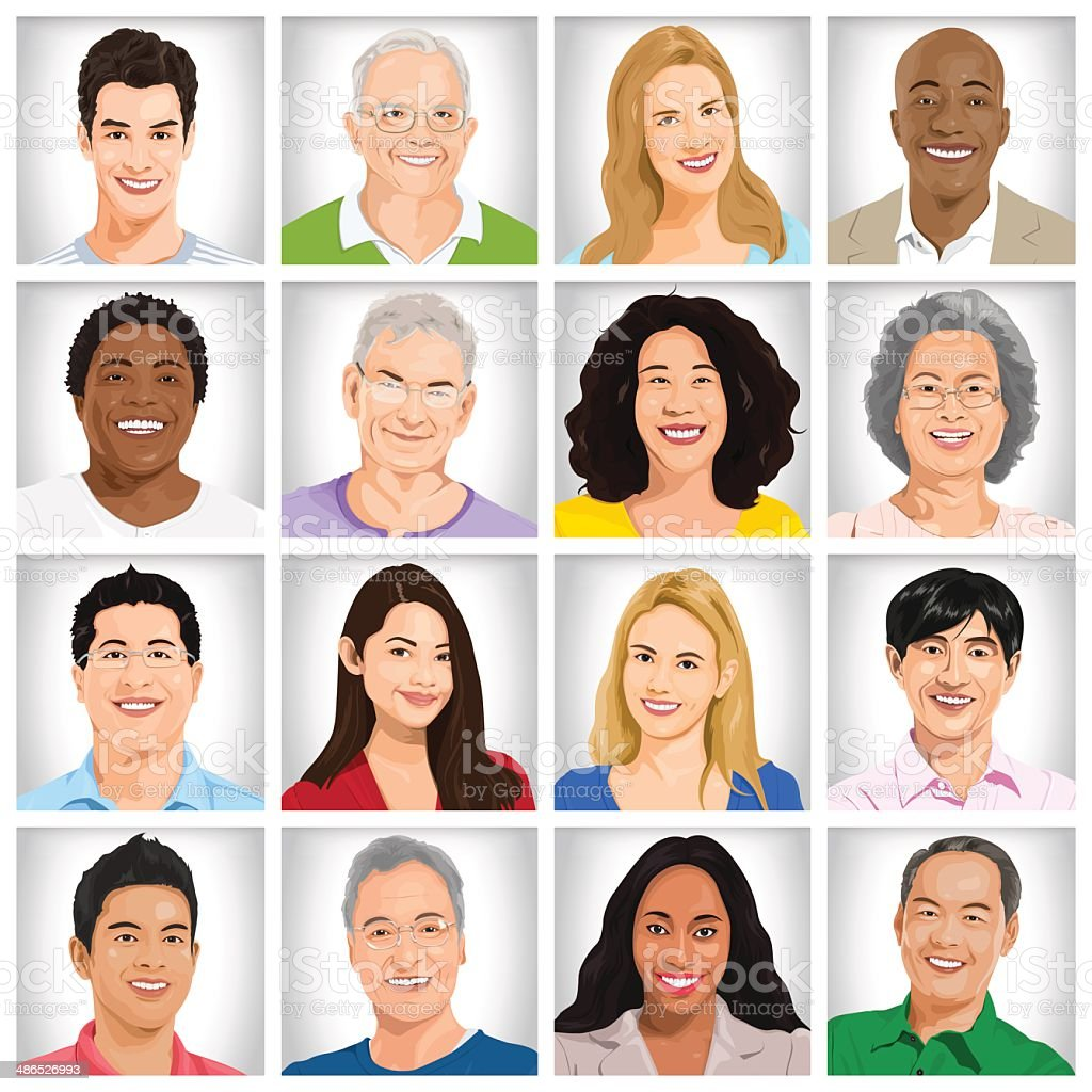 Collection of Multi-ethnic people vector art illustration