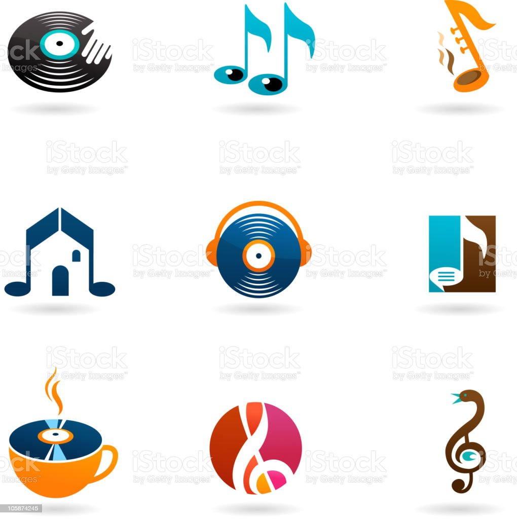 collection of music icons royalty-free stock vector art