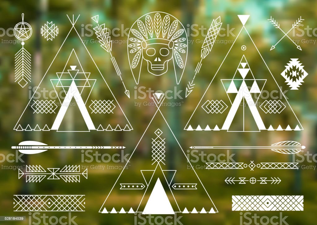 Collection of Native American tribal stylized elements for design. vector art illustration
